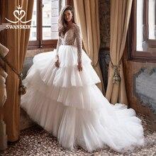 Swanskirt seksi v yaka boncuklu düğün elbisesi 2020 uzun kollu dantelli tül balo İllüzyon prenses gelin Vestido de novia I150