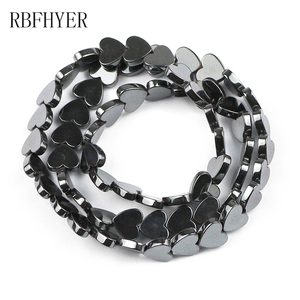 6/8/10mm Natural Black Love Heart Shape Hematite Stone Beads For Making Jewelry Diy Bracelet Necklace Pendant Accessories Perles(China)