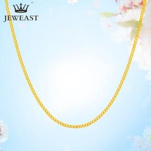 Image 1 - Ожерелье из чистого золота QA 24K, твердая золотая цепочка из чистого золота AU 999, красивая гладкая высококлассная трендовая Классическая изысканная бижутерия, Лидер продаж, новинка 2020