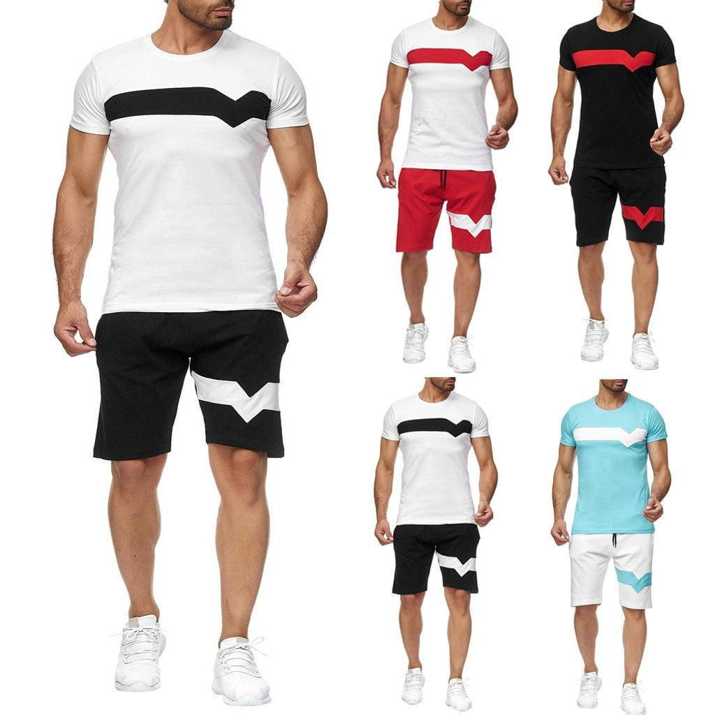 Tracksuit Men спортивный костюм мужской Summer Leisure Fashion Color Collision Short Sleeve Shorts Sports Thin Sets Free Ship