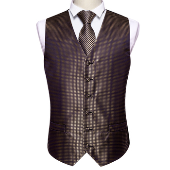 Designer Mens Classic Black Paisley Jacquard Folral Silk Waistcoat Vests Handkerchief Tie Vest Suit Pocket Square Set Barry.Wang 22