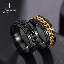 Letdiffery Cool anello da uomo girevole in acciaio inossidabile anello da donna Punk di alta qualità con catena a Spinner per regalo per feste