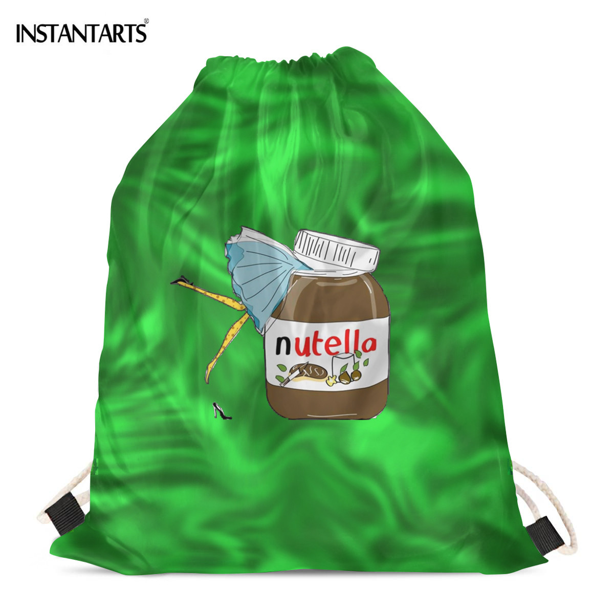 INSTANTARTS Lovely Food Nutella Lady Print Shopping Bags For Women Walking Hiking Gymsack Casual Eco Shoulder Backpack Daypack