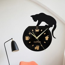 2019 Wall Clocks 3D Home Decor Acrylic Clock Cat and Fish Design Big Watch Quartz Living Room Decorative