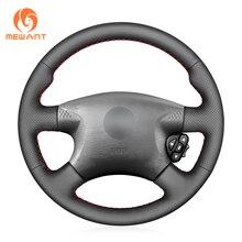MEWANT Black Genuine Leather Car Steering Wheel Cover for Nissan Almera (N16) X Trail (T30) Terrano 2 Almera Tino Micra Primera