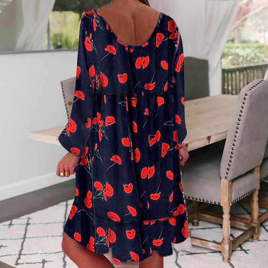 JAYCOSIN 2019 Summer Dress Women Mini Sundress Casual Ladies dresses Plus Size S-5XL Loose Print Long Sleeve Dress vestidos 726