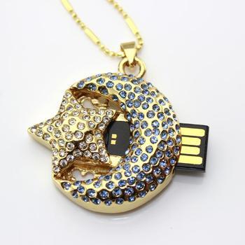 Crystal Pen Drive 64GB 128GB Jewelry Moon Star Creativo USB Flash Drive 1TB 2.0 Memory Stick 8GB 16GB 32GB Pendrive 2TB Key Gift