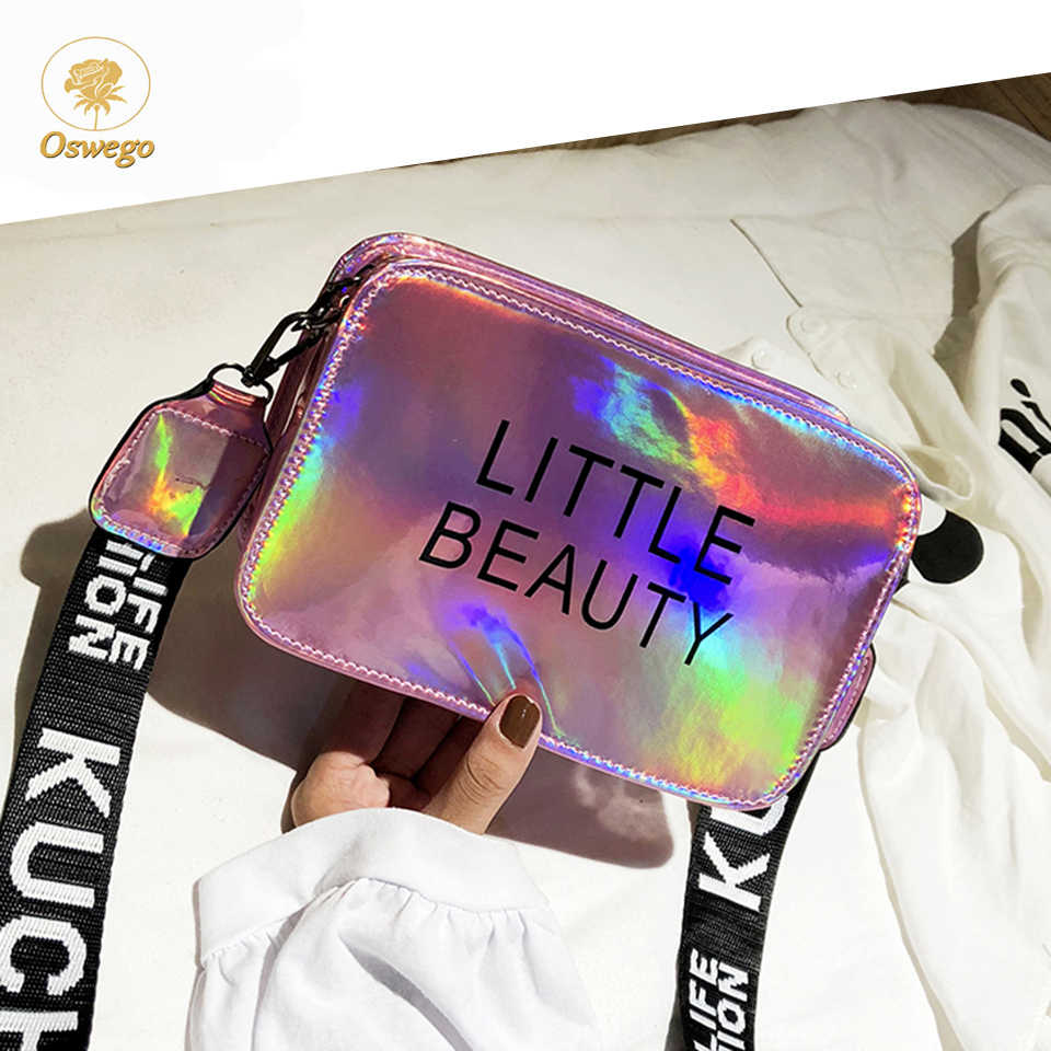 Oswego kobiet Crossbody torby dla kobiet 2019 wysokiej jakości list laserowe mały kwadrat na ramię Messenger Ins dzikie pcv torebka typu jelly bag