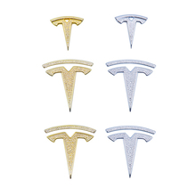 Araba Styling sticker Tesla modeli 3 direksiyon ön arka gövde logosu amblem rozeti elmas dekorasyon çıkartmaları aksesuarları