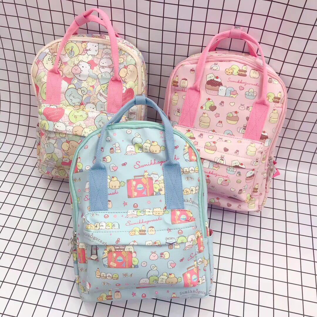 3 Colors Anime Sumikko San-X Corner Bio Printed PU Leather Cartoon Lovely Travel Backpack Girls Creative School Bag For Children