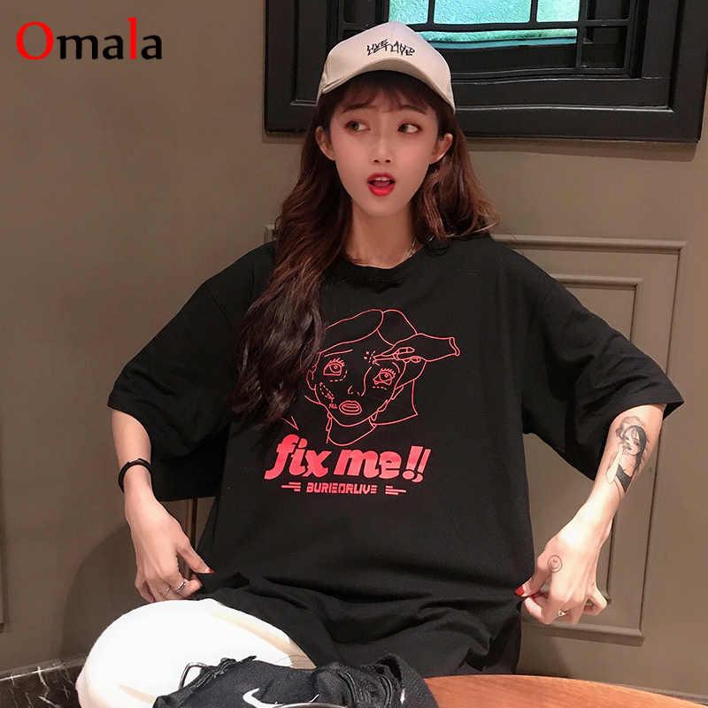 Lato 2020 casual t-shirty damskie Ulzzang Streetwear kawaii nadruk kreskówkowy Tshirt koreański styl topy Harajuku koszulka z krótkim rękawem