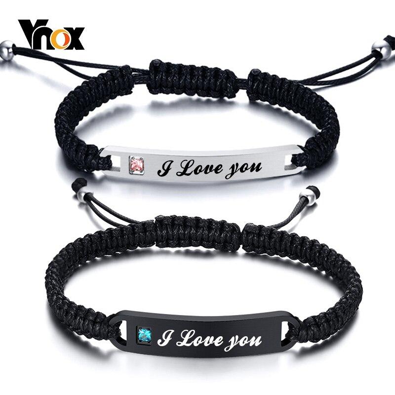 Vnox Personalisierte Handmade Geflochtene Armbänder für Paare Edelstahl Bar AAA CZ Stein Frauen Männer Geburtstag Jahrestag Geschenk