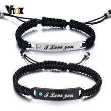 Vnox – Bracelets tressés à la main, personnalisés pour Couples, barre en acier inoxydable AAA CZ pierre femmes hommes cadeau d'anniversaire