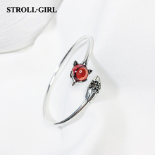 цены StrollGirl Hot Sale vintage silver 100% 925 red stone fox Bangle open size for women Fashion Jewelry on sale free shipping