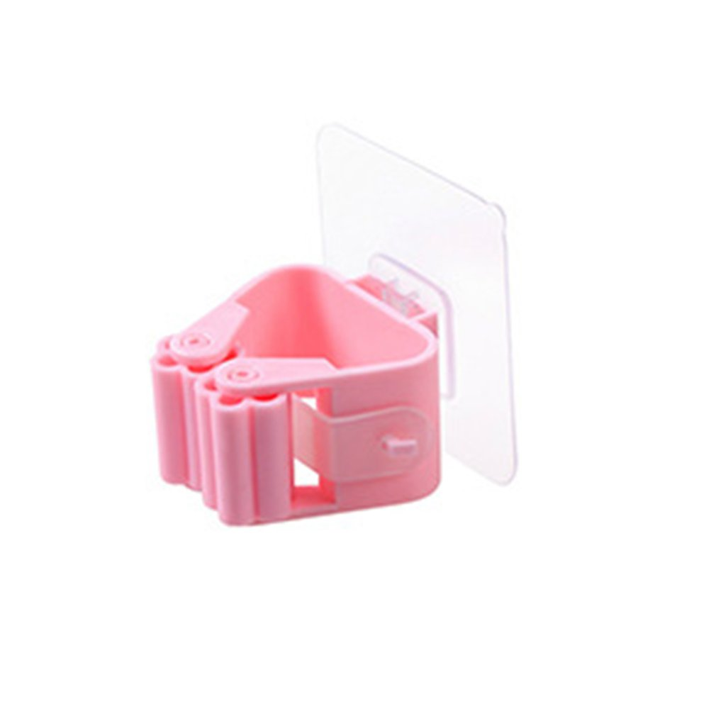 Non Punch Adhesive Wall Mounted Mop Holder Storage Broom Hanger Clip Seamless Mop Hook Bathroom