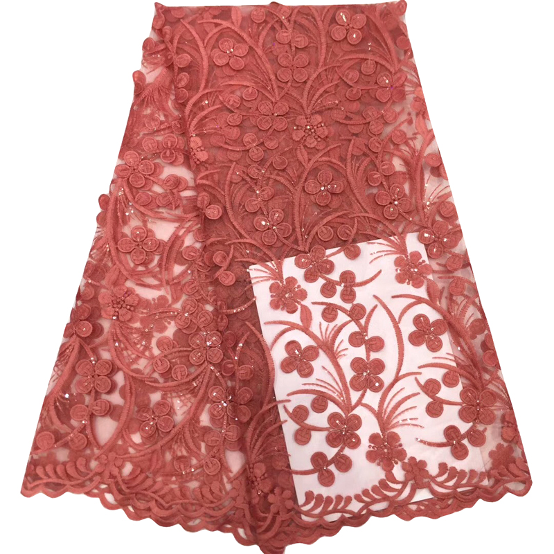 Latest African Lace Fabric Pretty Floral Appliques With Sequin Embroidered Top Quality Tulle Lace For Women Dress Tissu Dentelle