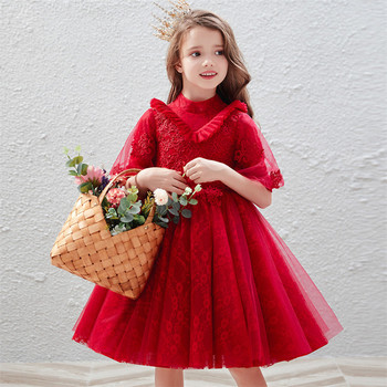 Korean Sweet Little Girls Baby Luxury Birthday Wedding Party Princess Lace Dress Infant Kids Host Costumes Tutu Host Prom Dress