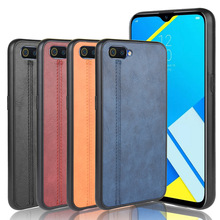 Realme C2 Case Luxury Calfskin PU Leather lines Back Cover Shockproof C