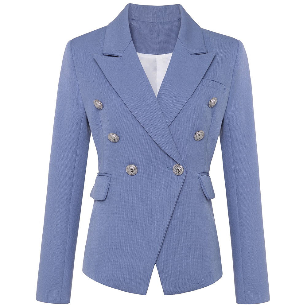 HIGH STREET New Fashion 2020 Stylish Blazer Jacket Women's Silver Lion Buttons Double Breasted Blazer Outer Wear