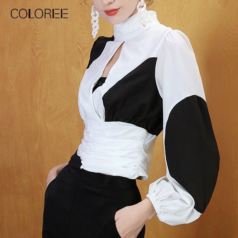 COLOREE 2019 noir blanc Patckwork Blouse piste concepteur femmes évider Blouse Blusas Streetwear à manches longues automne Chic hauts