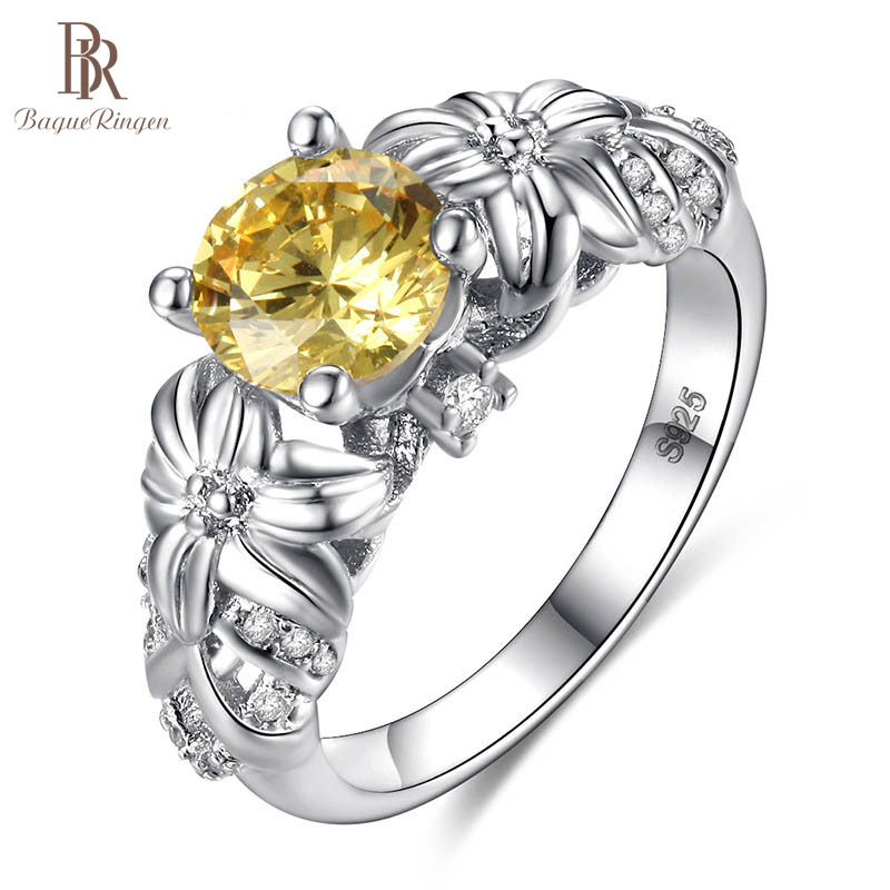 Bague Ringen Citrine Ring for Women Silver 925 Jewelry Round Gemstones Flower style Sunflower size6-10 Female Dating ring Gift