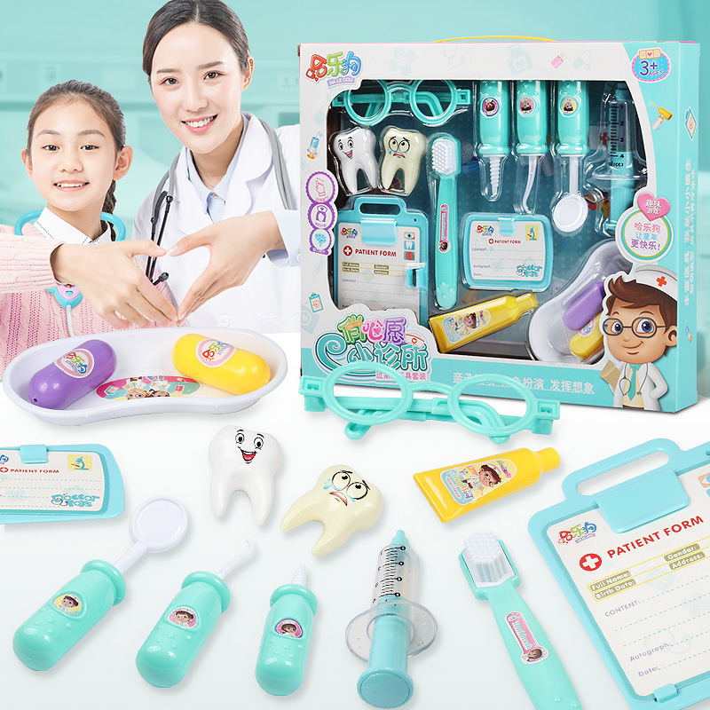 10PCS Children Pretend Play Doctor Dentist Toy Set Portable Suitcase Boy Girl Simulation Stethoscope Medical Tool Toys Gift