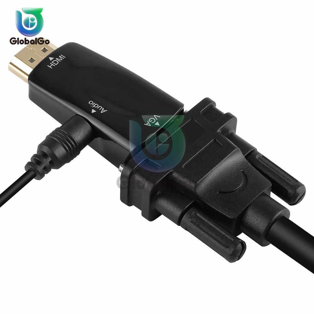 Adaptador micro usb hdmi para vga, adaptador macho para fêmea, conversor para 1080p tipo c HDMI-VGA com áudio e vídeo jack de cabo para pc tv,