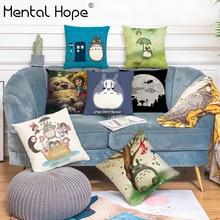 Pillow-Cover Totoro Cartoon Throw Linen Square Home-Decor Living-Room Printed Cotton