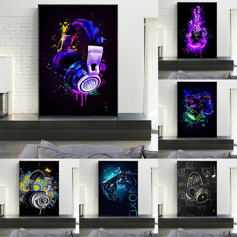 Colorful Cool Camera Headphones Game Console Canvas Painting Graffiti Art Posters Prints Wall Art for Living Room Home Decor