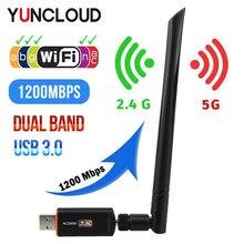 Mini adaptateur Wifi sans fil USB pilote gratuit 1200Mbps 600Mbps Lan USB Ethernet 2.4G 5G double bande Wi-fi carte réseau 802.11n/g/a/ac