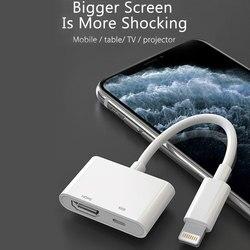 Para iPhone iPad HDMI Cable adaptador Lightning coche conectar para iPhone 11 Pro 8 7 XR XS Max convertidor HDMI adaptador a proyector de TV