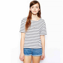 Black White Striped O-Neck T Shirt Women Short Sleeve Simple Cotton Tshirt Tee Shirt Femme Women Clothes 2019 S M L XL XXL 5081(China)