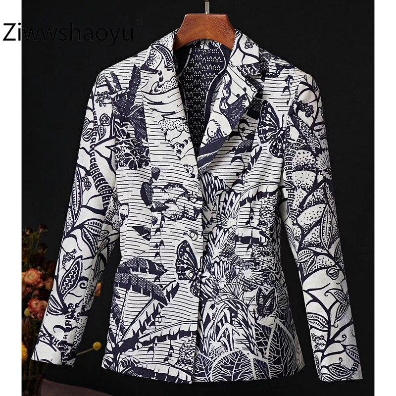 Ziwwshaoyu 2020 Early Spring Designer 100% Cotton Forest Animal Print Fashion Blazer Jackets Coat Women's High Quality Clothing