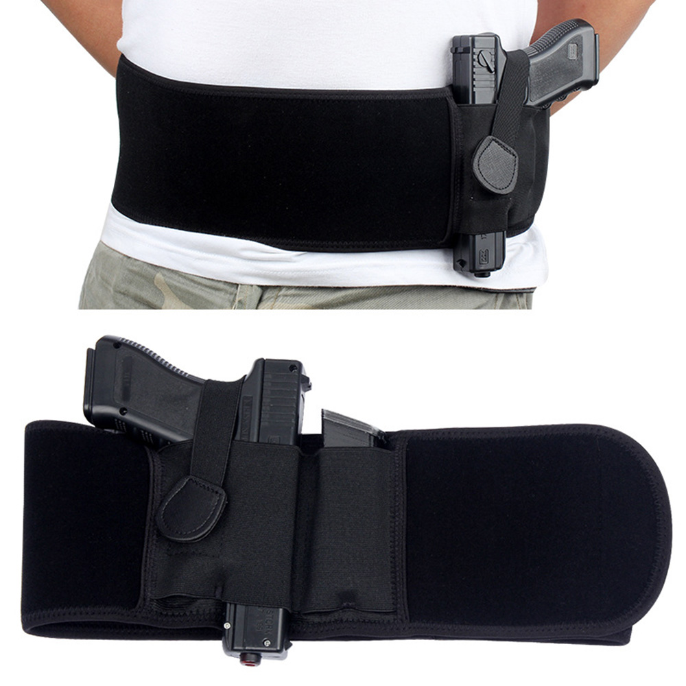 Tactical Belly Band Concealed Carry Gun Holster Right-hand Pistol Universal Invisible Elastic Waist Pistol Holster Girdle Belt