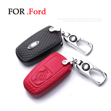 цена на Genuine Leather Key case for Ford Focus 2016 Fiesta Edge Escape Kuga Fusion Mondeo Ecosport Explorer With car Keychain styling