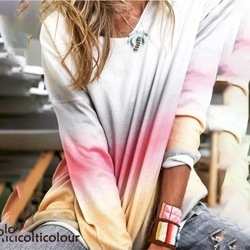 Loose Round Neck Printed Sweater Women Rainbow Gradient Fashion Long-sleeved Hatless Cotton Sweater Pullover Female 2020 Spring