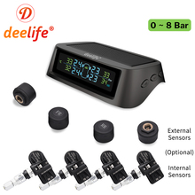 Deelife TPMS Solar Tire Pressure Monitoring System 0 116 psi 0 8 bar TMPS Car Tyre Pressure Monitor Internal External Sensor