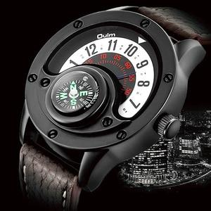 Image 1 - Creative מצפן גברים שעון קוורץ שעונים ספורט פטיפון חיוג שעוני יד מקרית רצועת עור צבאי שחור איש שעון Reloj