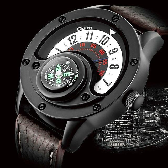 Creative מצפן גברים שעון קוורץ שעונים ספורט פטיפון חיוג שעוני יד מקרית רצועת עור צבאי שחור איש שעון Reloj