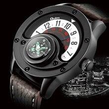 Montre à Quartz créative pour hommes, avec boussole, cadran, cadran, style militaire, horloge noire, modèle bracelet en cuir décontracté
