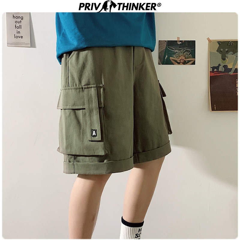 Privathinker 2020 Men Summer Big Pockets Shorts Men's Oversized Loose Casual Shorts Male Fashions Korean Knee Length Shorts 5XL