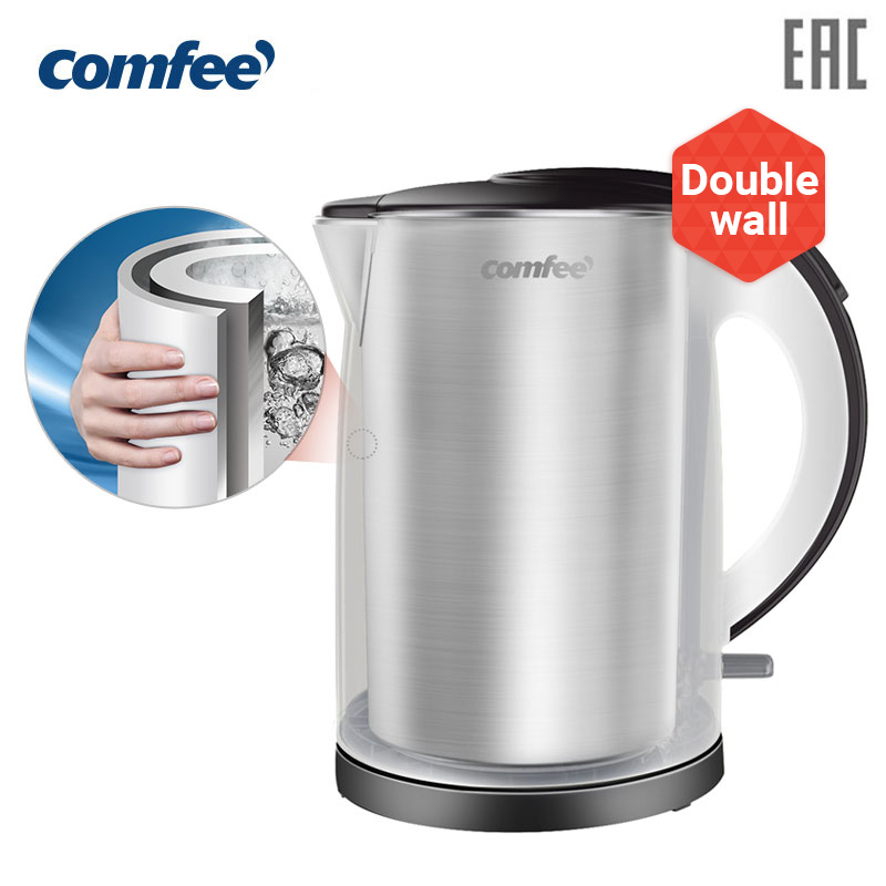 Kitchen electric stainless steel Kettle double wall kettle teapot thermopot thermos whistling kettle thermos kettle samovar household appliances for the kitchen midea comfee  CF-KT 7072 недорого