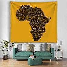 Ковер с картой Африки цветной декоративный настенный ковер Искусственный