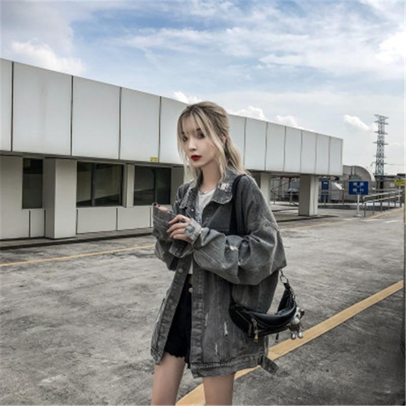 Новинка осени 2020, женская джинсовая куртка в стиле хип хоп с надписью «Demon» и отложным воротником, свободные высококачественные топы с длинными рукавами, Vogue| |   | АлиЭкспресс
