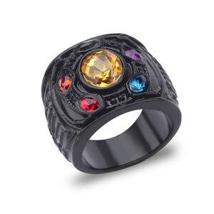Винтажные черные красочные хрустальные кольца Мстители для мужчин, фанаты, Панк Хип-хоп Вечерние