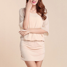 Summer plus size Dress with half sleeve women dress sexy bag hip pleated Night club party female Chiffon clothings