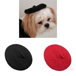 Cor sólida vermelho/preto cão de estimação chapéu de moda boina gato cachorro quente bonito capa all-match headpiece suprimentos para animais de estimação c42