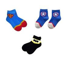 3 pairs marvel socks kids super hero Superman Batman Captain America cartoon for boys girls cotton spring autumn