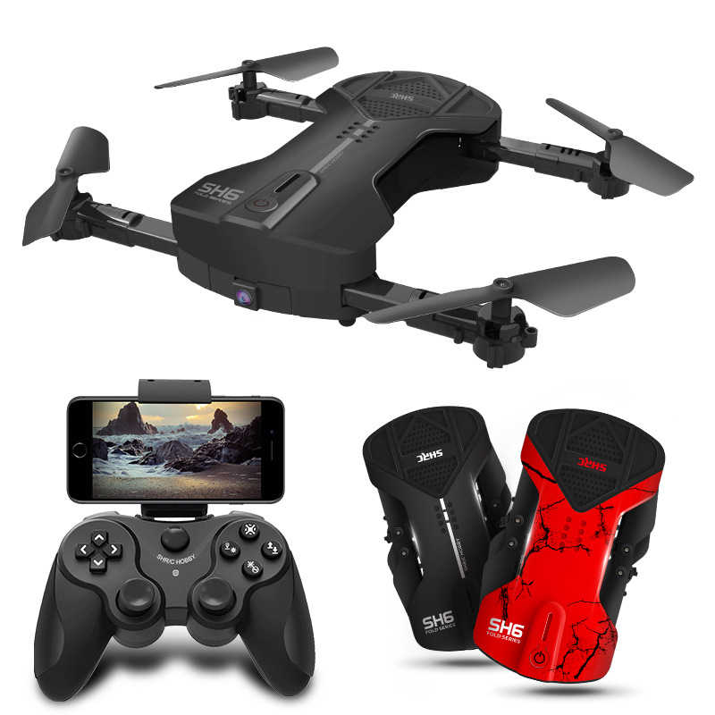 HR Unmanned Aerial Vehicle SH6 Folding Remote Control Aircraft Set High Aerial Photography WiFi Control Quadcopter