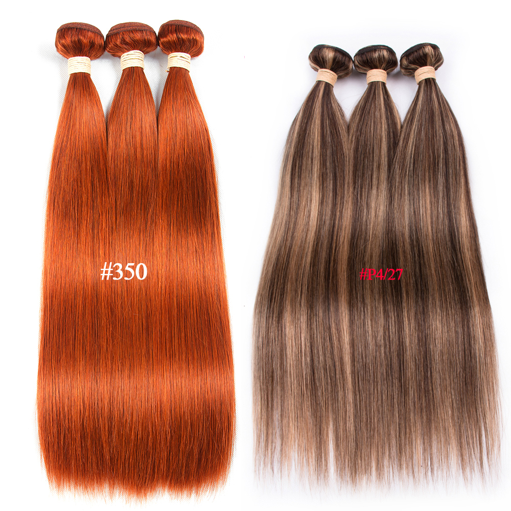 Pre Colored #350 Orange #6 P4/27 Brazilian Hair Straight Human Hair Bundles 1 Piece Non Remy Human Hair Extension 100 Gram